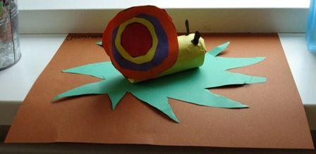 Een slak van een closetrol. De kinderen knippen cirkels uit en plakken die van groot naar klein.