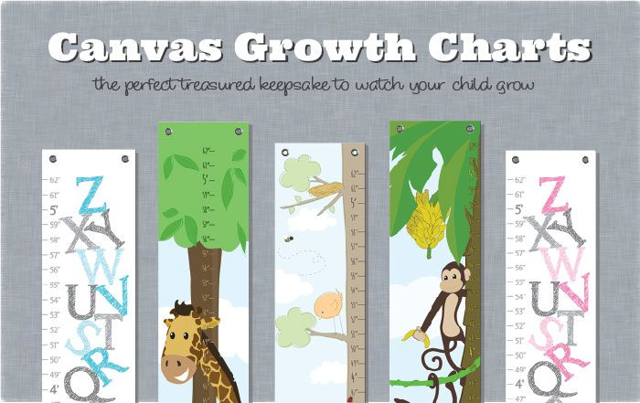 Create a treasured keepsake and watch your child growth with a beautiful canvas growth chart by Simple Sugar Design
