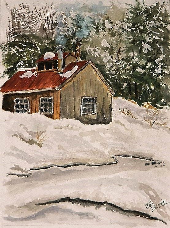 TITLE : SUGAR SHACK DISCRIPTION; There is nothing that says Spring more here in New England then the steam coming from the stacks of the sugar shacks as they boil down the collected maple sap This is an original signed watercolor painting NOT A PRINT SURFACE:140lb cold pressed watercolor paper FORMAT: Portrait SIZE: Art work 8 x 11 MAT :11 X 14