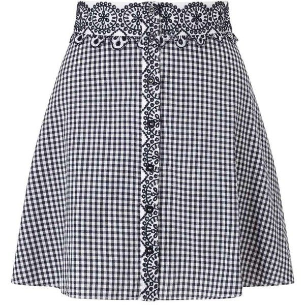 Miss Selfridge PETITE Gingham Skirt (8.675 CLP) ❤ liked on Polyvore featuring skirts, bottoms, black, petite, miss selfridge, petite skirts, gingham skirt and miss selfridge skirts