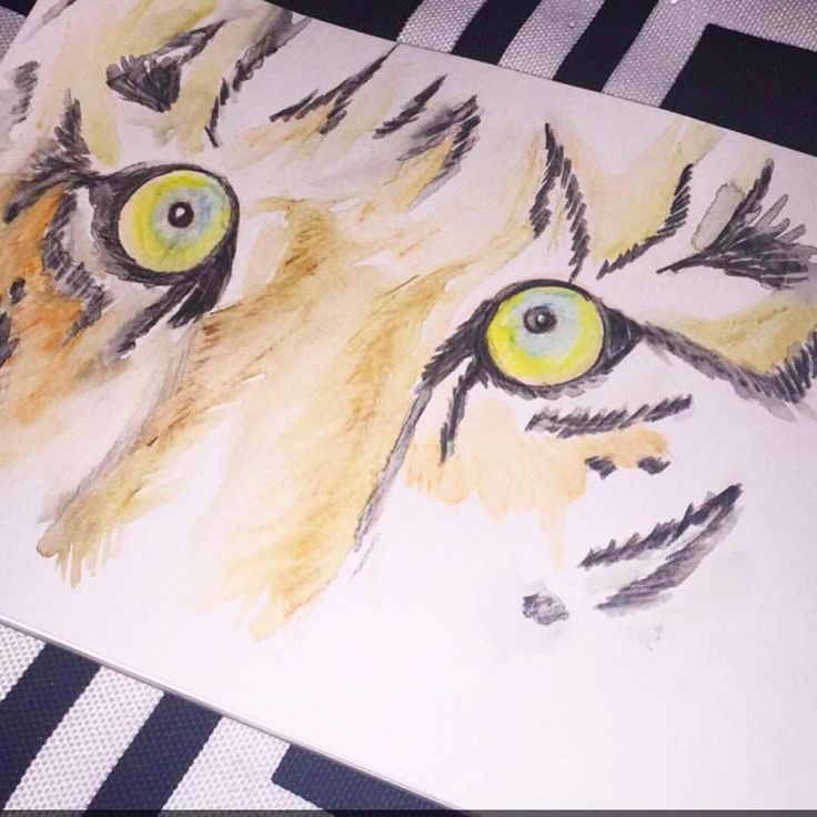 A tiger does not shout its tigritude, it pounces.  - Wole Soyinka Medium: watercolour