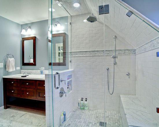 Slanted Walls Design, Pictures, Remodel, Decor and Ideas: Bathroom Design, Shower Design, Idea, Subway Tile, Bathroomdesign, Traditional Bathroom, Bathroom Shower, Attic Bathroom, Wall Design