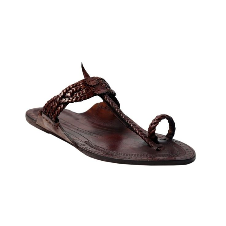 Four braided dark brown awesome looking kolhapuri chappal for ladies