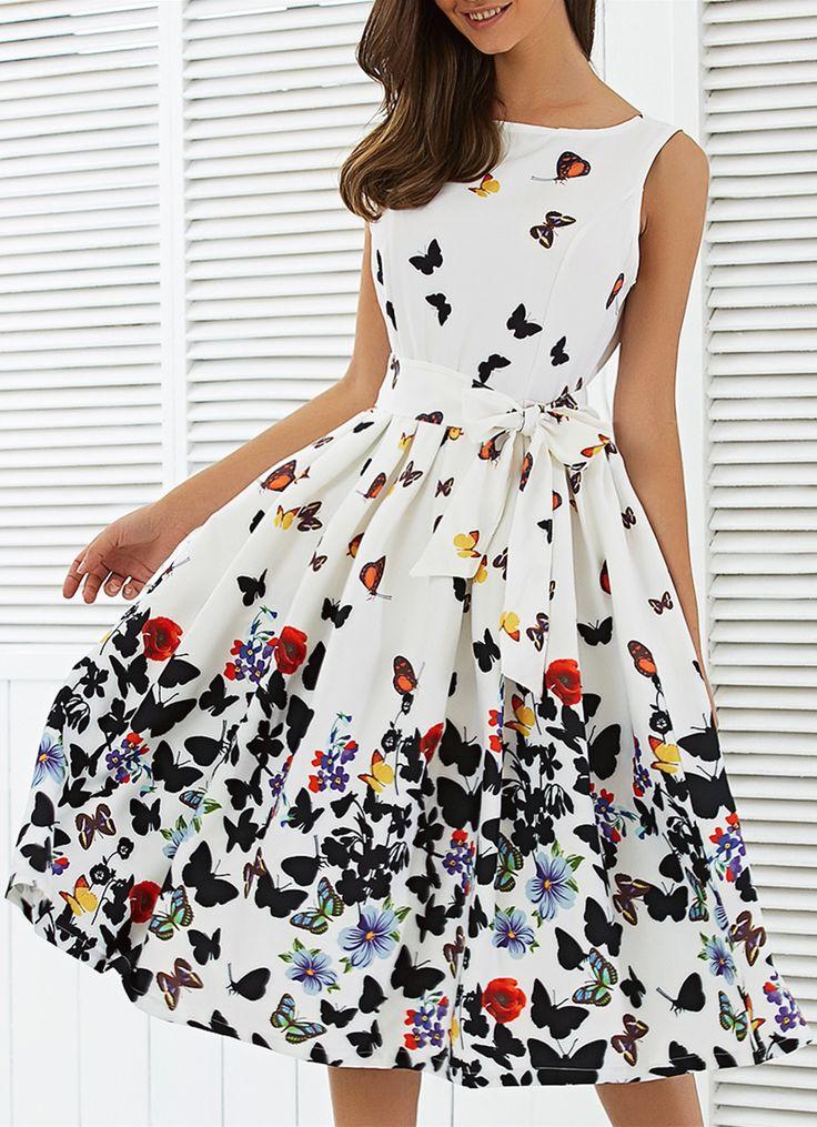 $20.42 Sleeveless Floral Self Tie A Line Dress - White