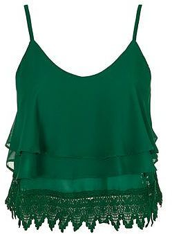 Womens dark emerald lace trim cami by glamorous from Topshop - £21 at ClothingByColour.com