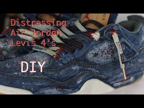f34663b07 Do it Yourself (DIY) Distressing Levis Jordan 4 And Custom Laces from Aglit  Italy - YouTube