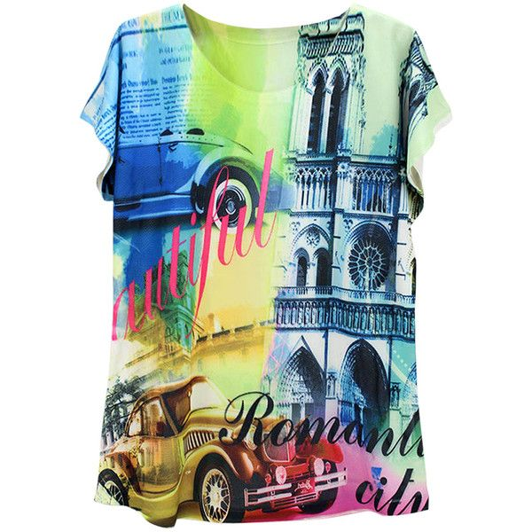 Blue Colorful Car Printed Batwing Sleeve Charming Ladies Tee Shirt ($11) ❤ liked on Polyvore featuring tops, t-shirts, blue top, blue t shirt, blue tee, bat sleeve tops and colorful t shirts