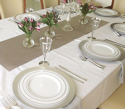 wedding party disposable plastic plates and cutlery u0026 wine cups w silver rim