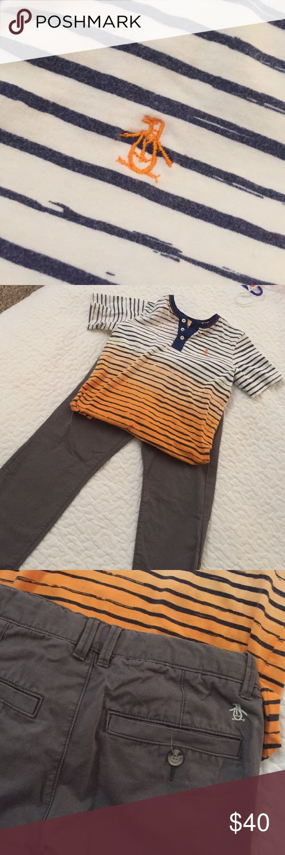 Boys Penguin Brand Outfit Gray Penguin brand pants with Orange and Navy too.  Pants size 8 shirt size small. Penguin Matching Sets