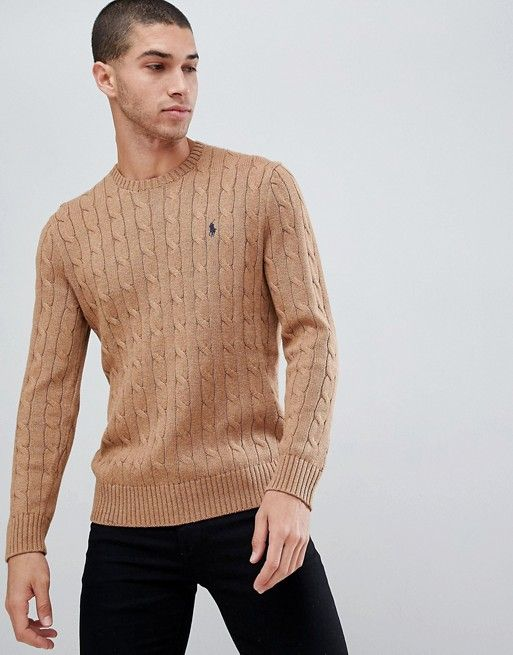 Polo Ralph Lauren cable cotton knit jumper with player logo in camel marl  in 2018   Fashion favourites   Pinterest   Fashion 6967e0f90e1
