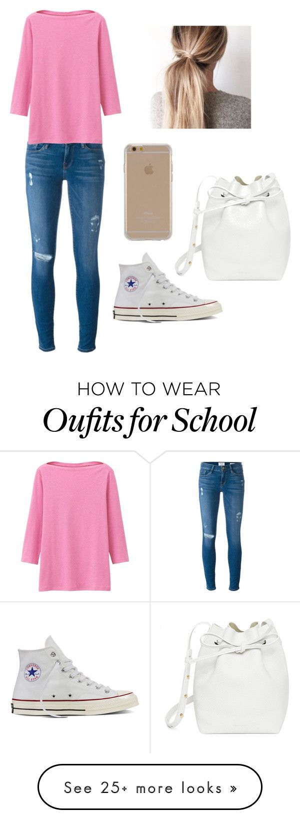 """School"" by tessajeane on Polyvore featuring Frame Denim, Uniqlo, Converse, Mansur Gavriel and Agent 18"