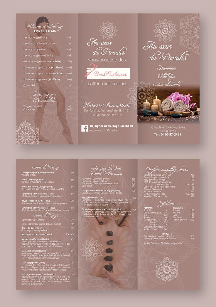 Creation De Depliant Flyer Pour Institut De Beaute Graphiste A Istres Institut De Beaute Decoration Salon De Beaute Institut Esthetique
