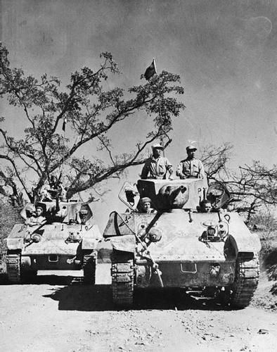 Burma Campaign Chinese troops on Stuart tanks Ledo road