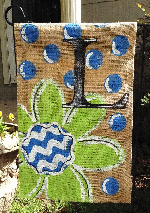 Burlap Garden Flag Lime Green with Bright Blue Dots and Monogram on Etsy, $20.00