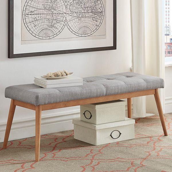 MID-CENTURY LIVING Sasha Oak Angled Leg Linen Bench $117 sale https://emfurn.com