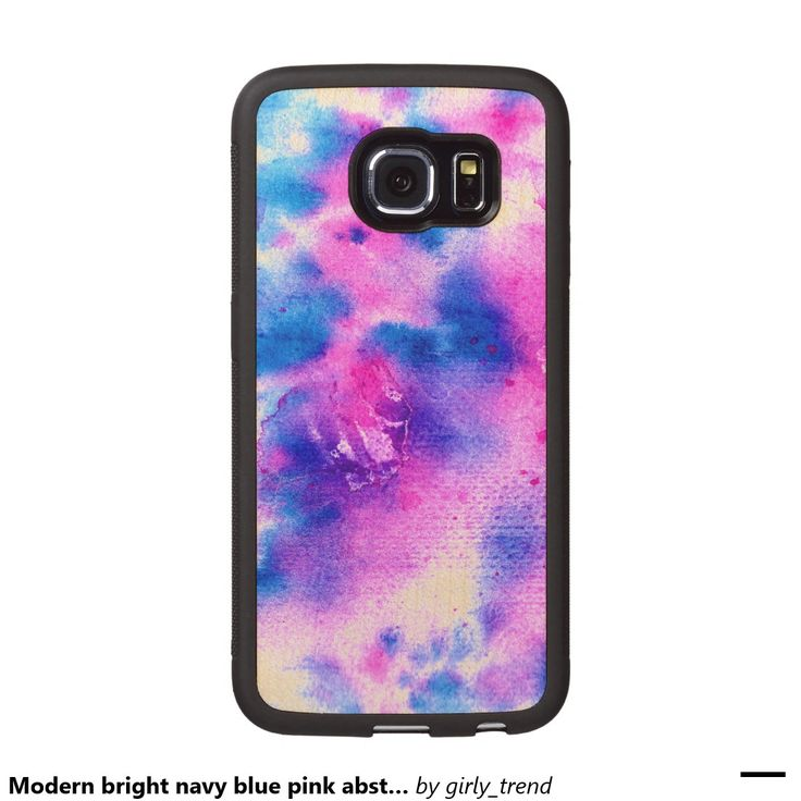 Modern bright navy blue pink abstract watercolor wood phone case