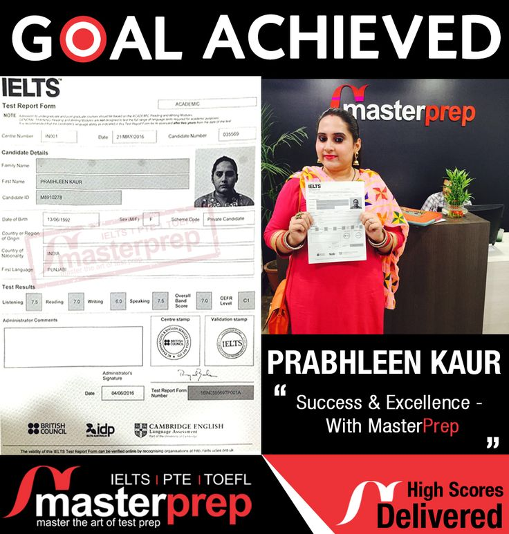 Here is one more successful candidate from #MasterPrep! We are known for helping students excel in #IELTS, #TOEFL and #PTEAcademic through our expert #EnglishTraining program. Meet our representatives in Chandigarh, Ludhiana and Hoshiarpur office for more details. www.masterprep.in