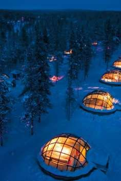 Hotel Kakslauttanenoffers the unique opportunity to spend the night cozied in a heated igloo. Northern Lights  Finland     Arctic Circle