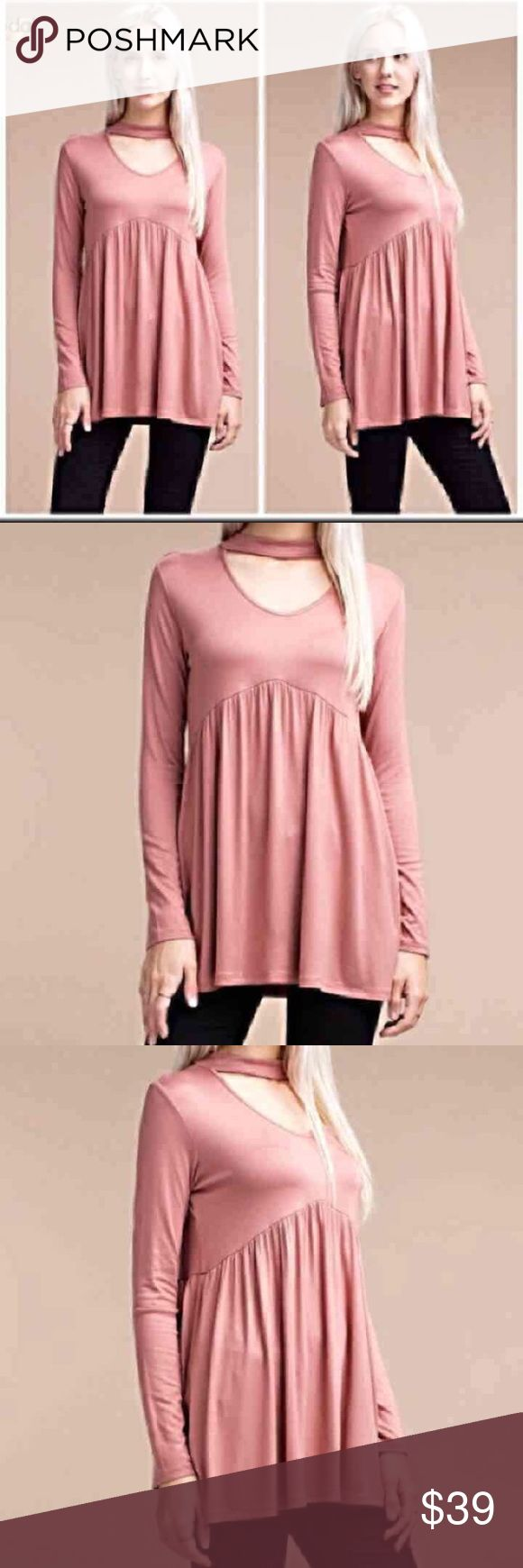 🆕 Luxurious Lenzing Modal blush choker tunic. L New with tags attached. Lenzing Modal a modal fiber from Lenzing. Naturally soft on the skin and exceptionally ecological. Fiber is from Beechwood. Fabrics which envelop the body in a touch of lightness, have become a reality. This top features a choker neck and shirred bodice. Size large.  Bust measures at 36 unstretched.  Length is 39. 96 rayon, 4 spandex Tops Tunics