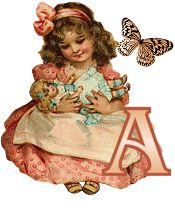 Alfabeto retro de nena con muñeca.
