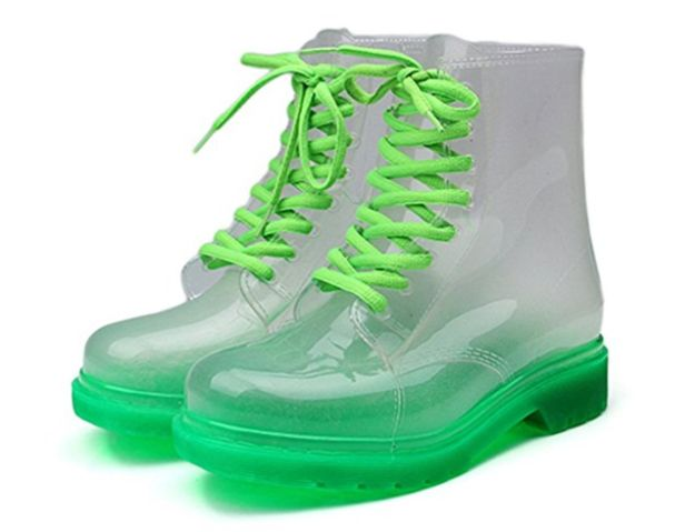 These Nickelodeon slime-colored booties to take you all the way back. | 15 Cute Pieces Of Rain Gear To Make Your Gray Days Brighter