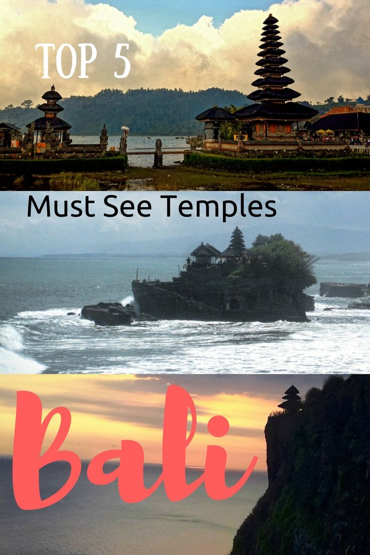 Bali, Indonesia Travel: Temples in Bali that you cannot miss. Pura Luhur Uluwatu, Pura Ulun Danu Bratan, Pura Tanah Lot, Pura Goa Gajah, Pura Dalem Agung Padantegal. See this article for locations and tips on visiting these temples in Bali: https://togethertowherever.com/must-see-temples-bali/