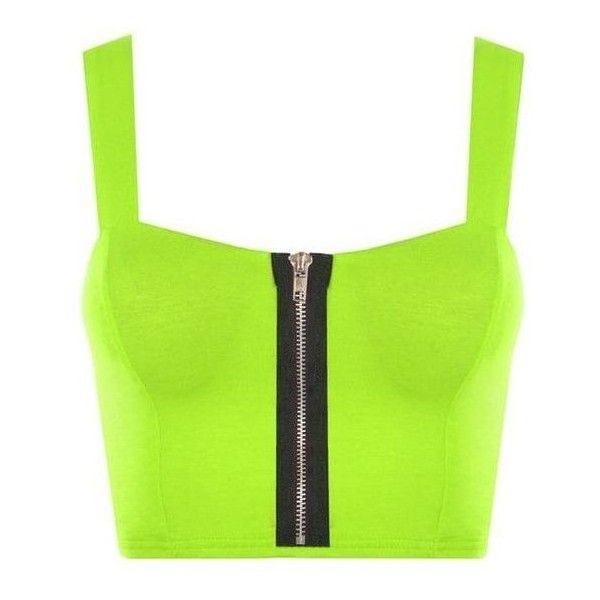 Janey Fluorescent Neon Bralet Top ❤ liked on Polyvore featuring tops, bralette tops, neon top, green top, neon green top and bralet tops