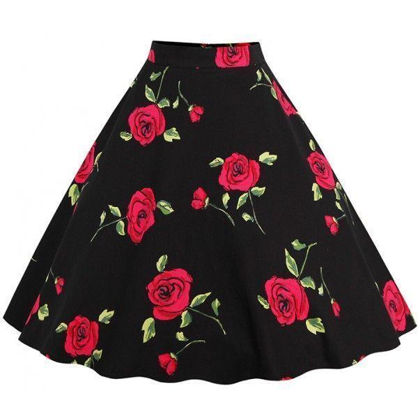 Falda negra con estampado de rosas rojas