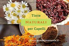 tinte naturali per capelli utilizzando erbe e rimedi fai da te come camomilla, bustine di tè e fondi di caffè!
