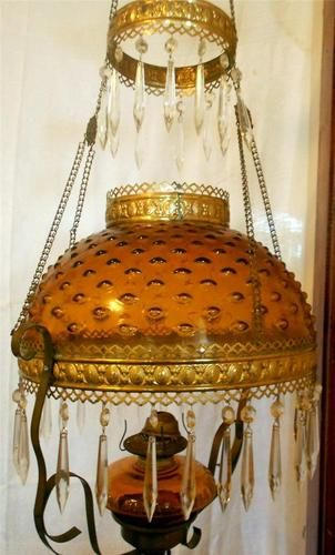 Antique Amber Glass Hobnail Hanging Oil Lamp Chandelier With Prisms
