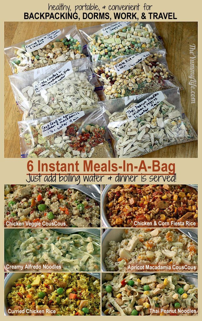 6 Instant Meal-On-The-Go. Nutritious and easy for backpacking, camping, dorms, office, and travel. from TheYummyLife.com