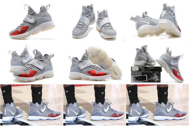 Latest LBJ Sneakers Cheap Size US 7 7.5 9 10.5 13 LeBron 14 XIV Cavs VS Portland Trail Blazers Jan 11 2017 Grey Whie Red
