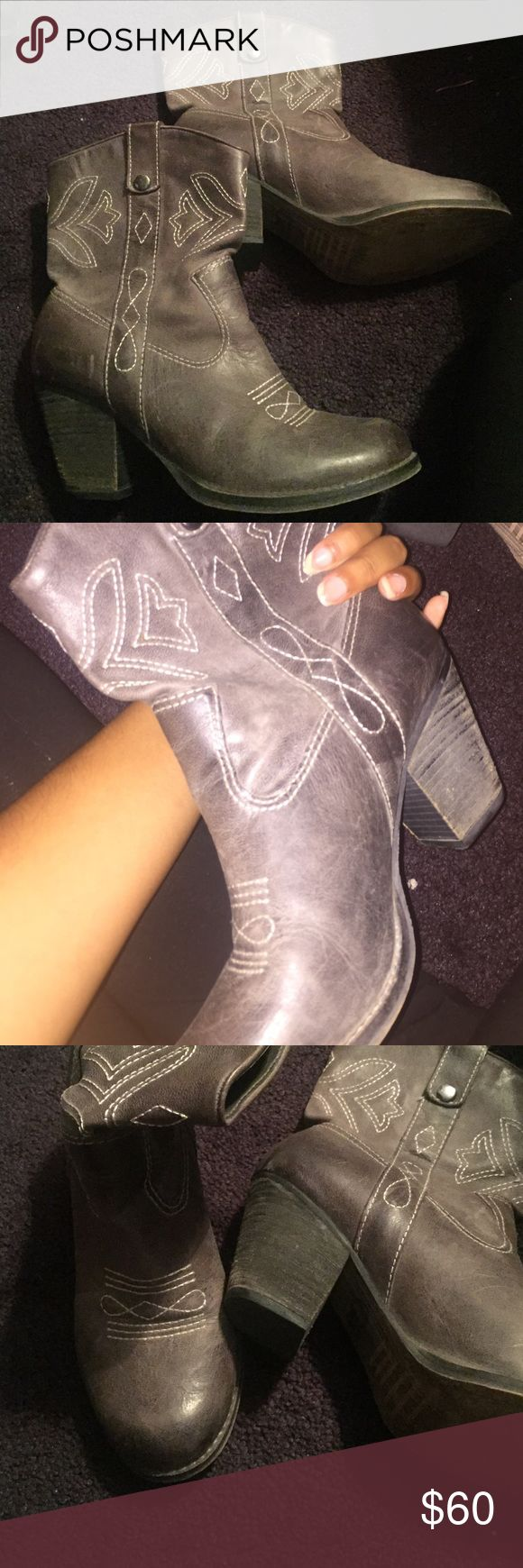 Grey short cowboy boots! Super cute! In perfect condition! Gianni Bini Shoes Ankle Boots & Booties