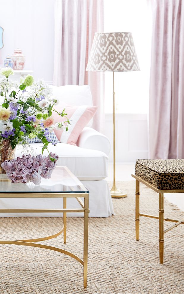 This Southern-inspired pastel-hued living room look is so sweet and perfect for spring!