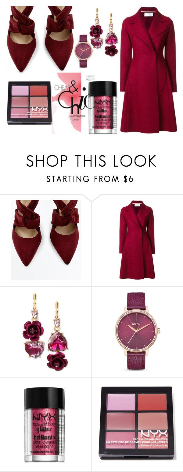 """All in burgundy"" by carolina-esquivel ❤ liked on Polyvore featuring Harris Wharf London, Betsey Johnson, Nixon and NYX"