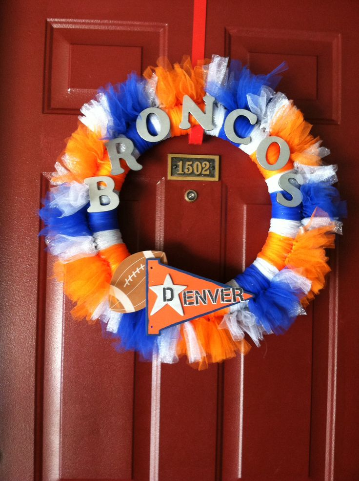 Denver broncos tulle wreath f o o t b a l l pinterest for Denver broncos colors