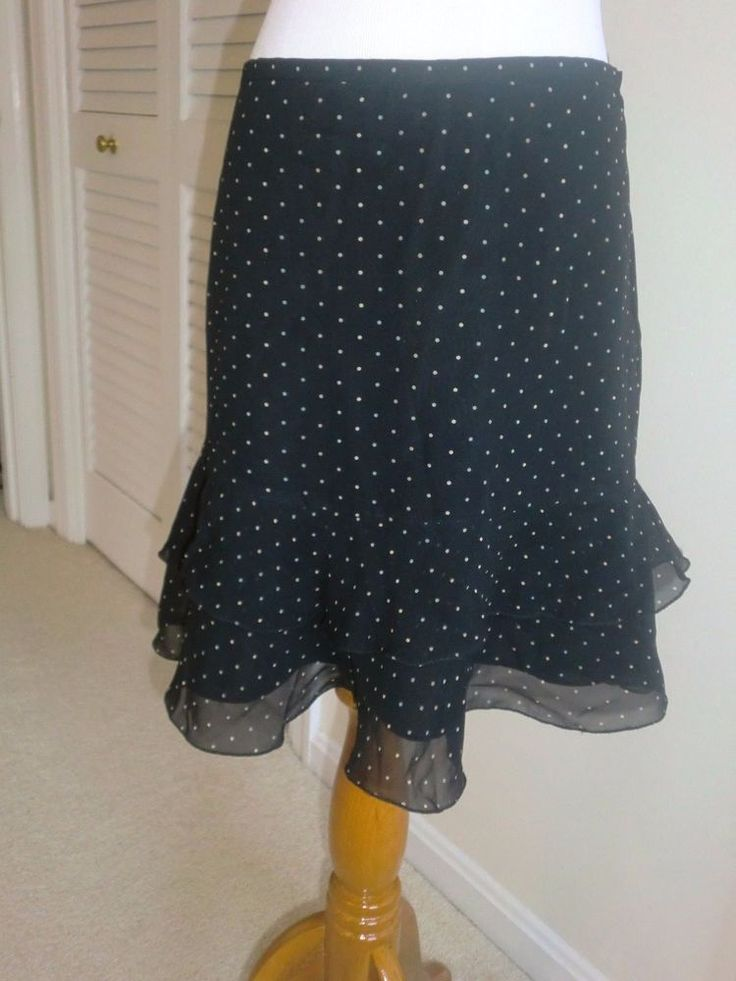 The Limited Black Polka Dot Ruffle Hem Silk Skirt NWT 4 Party Career $68 Retail #TheLimited #StraightPencil