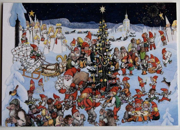 Gnomos y Santa Lucía envío gratis en todo el mundo Rolf Lidberg Postal Suecia- mostrar título original