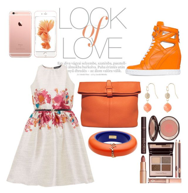 """""""Orange"""" by aninditaarr on Polyvore featuring Vince, Little Mistress, Posh Girl, Hermès, Dsquared2, The Limited and Charlotte Tilbury"""