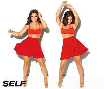 """Lucy Hale's Secrets to Happiness: What Gets Her Off Her Ass.  What gets her off her ass.  """"I won't work out without music. I'm not one of those people who looks forward to exercising, so music gets me through it. My new favorite song is 'Wake Me Up!' by Avicii."""" #SelfMagazine"""