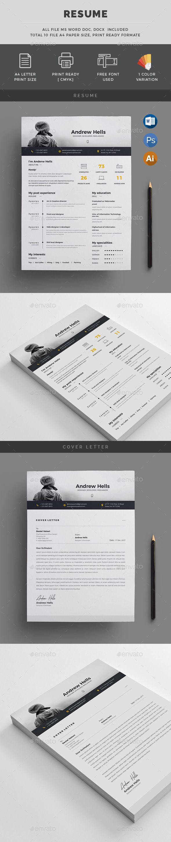 #Resume/CV - #Resumes Stationery Download here: https://graphicriver.net/item/resumecv/19497611?ref=alena994