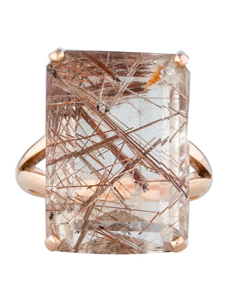 22.84ctw Rutilated Kunzite Cocktail Ring - Fine Jewelry - FJR21558
