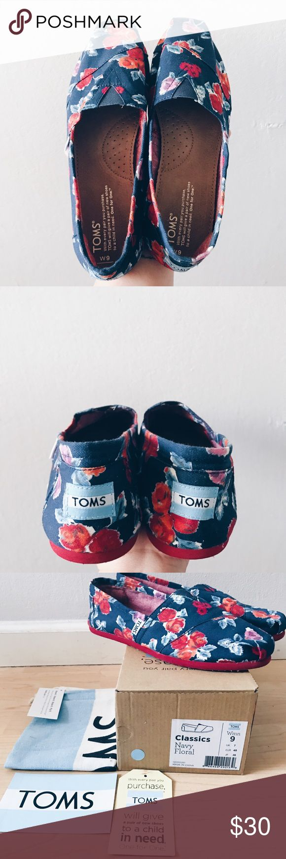 Floral TOMS *Worn Once* Navy Blue/Red Floral TOMS slip-ons. Includes: original box, tag, sticker, shoe bag. TOMS Shoes Flats & Loafers