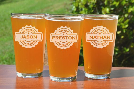 Personalized Pint Glasses Groomsmen Pint Glass Wedding Party