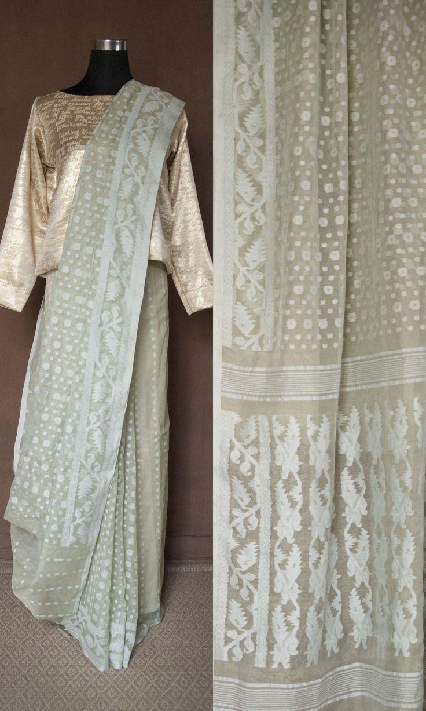 m51 Sabeki Old Bengal Hand Woven Soft Muslin Silk Cotton Jamdani Sari