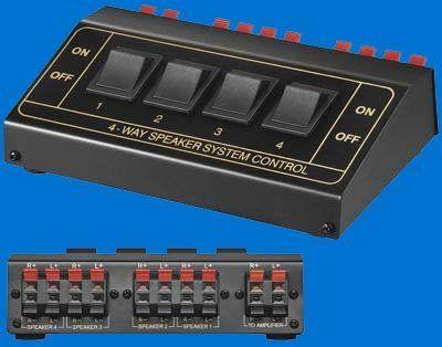 """""""AVE-A"""" Lautsprecher Umschaltbox Umschalter Verteiler Splitter Switch Switcher für 8 Boxen 4 fach"""