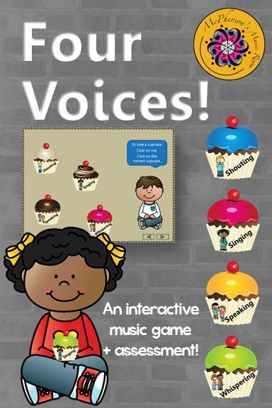 Fun elementary music interactive game and assessment reinforcing the 4 voices. Excellent Orff and Kodaly music education resource!