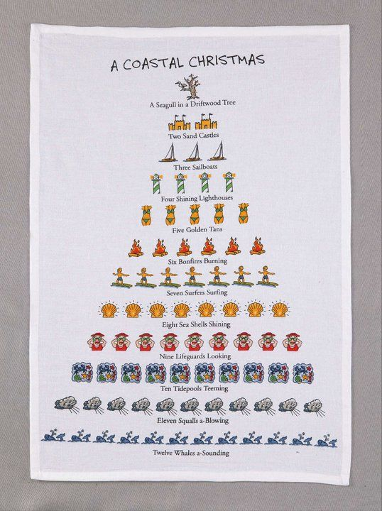 12 days of a coastal christmas kitchen towel - 12 Days Of Christmas Hawaiian Style