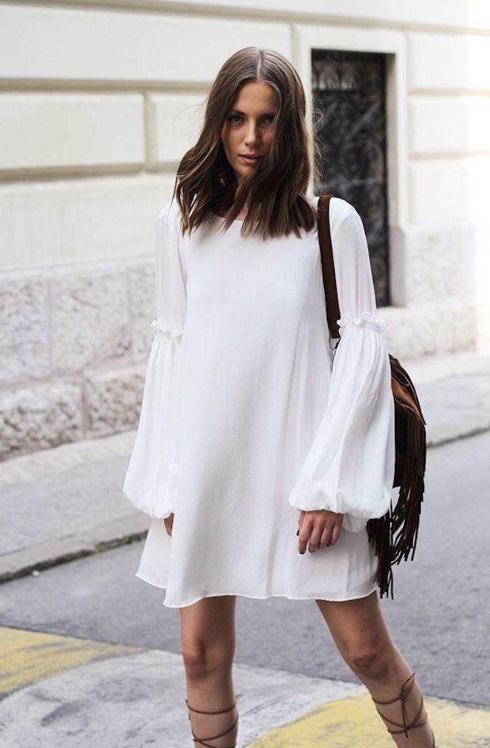 e5b5f690c0e Belle robe blanche boheme robe champetre chic robe bohème blanche robe  courte manche longue fluide