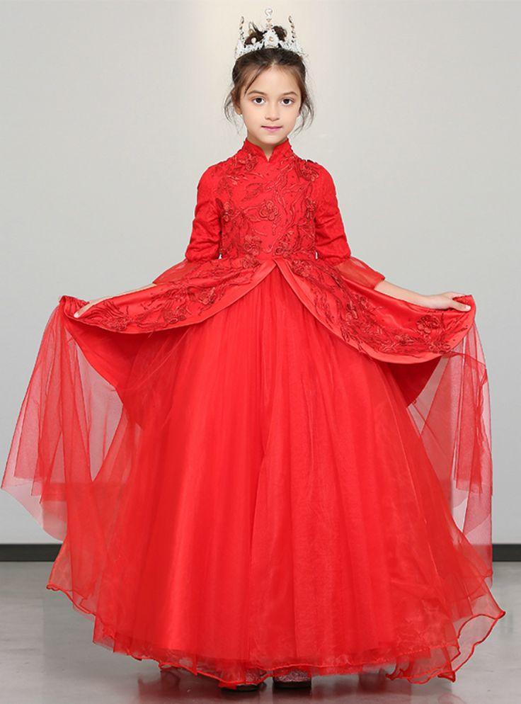 In Stock:Ship in 48 Hours Red High Neck Half Sleeve Flower Girl Dress